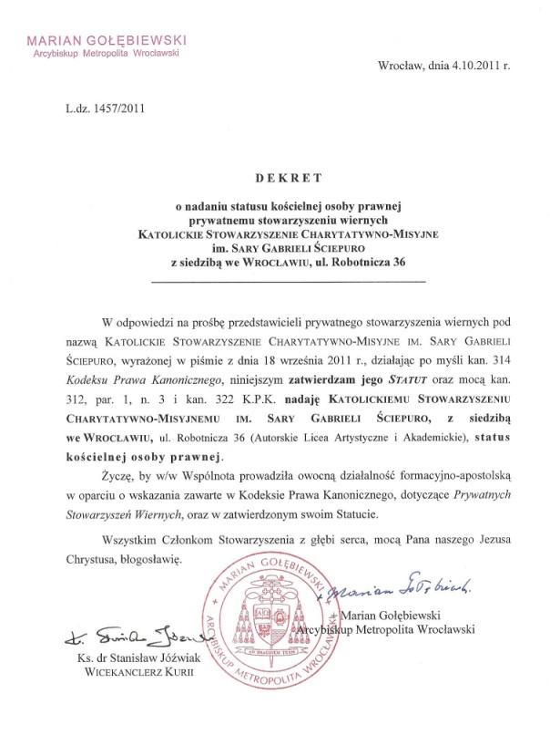Dekret Arcybiskupa Metropolity Wrocławskiego Mariana Gołębiewskiego w sprawie rejestracji stowarzyszenia